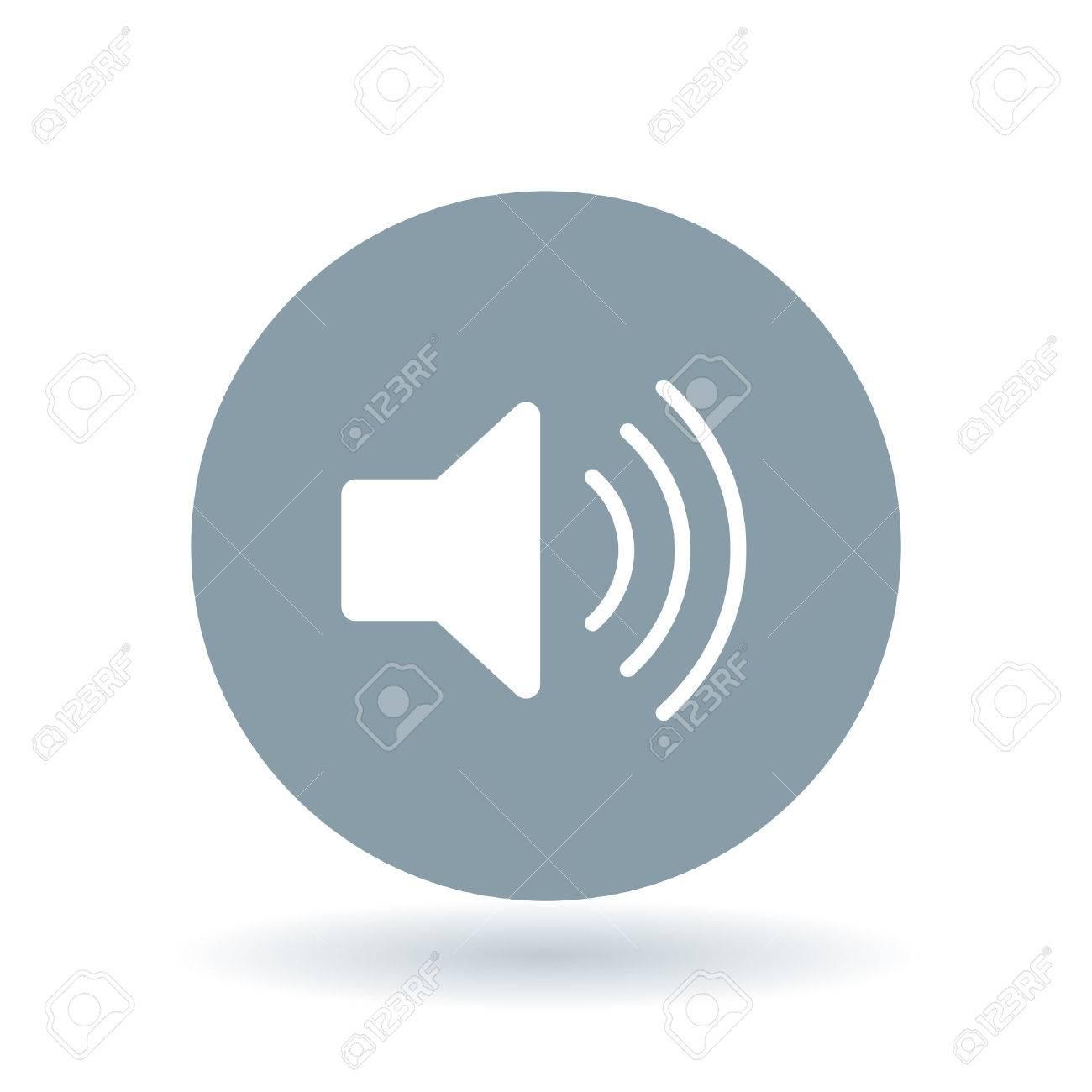 Audio icon. Speaker sign. Volume symbol. White volume icon on cool grey circle background. Vector illustration. - 52803074