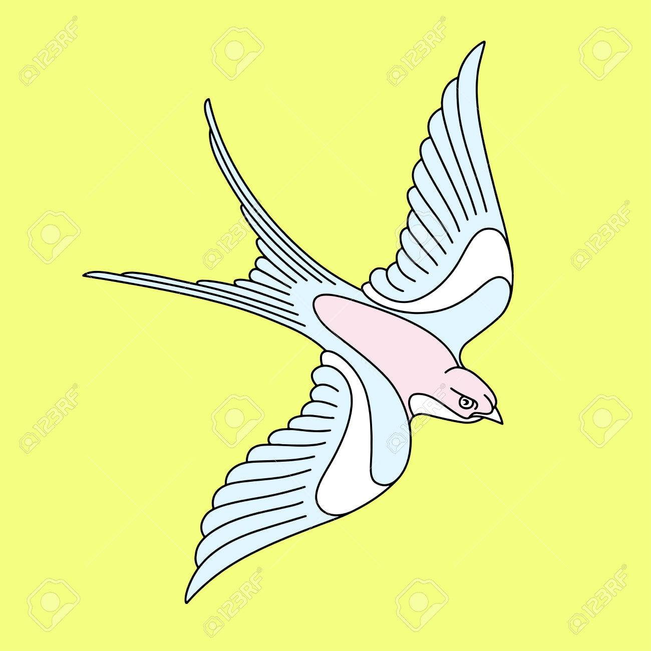 Flying Swallow Or Swift Tattoo Design. Elegant Bird Vector ...