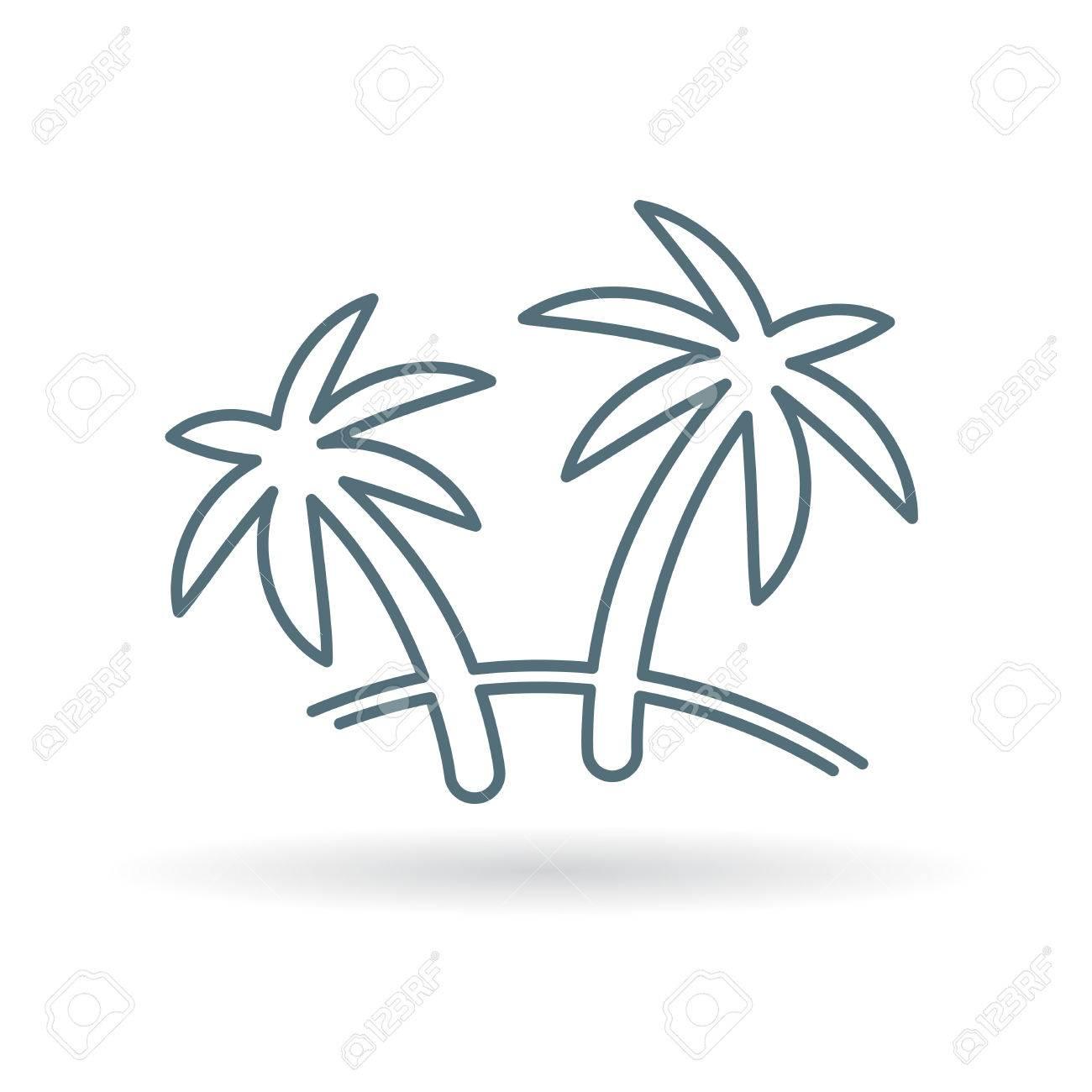 Palme-Symbol. Kokosnussbaum Zeichen. Paradise Tropischen Baum-Symbol. Thin  Line-Symbol Auf Weißem Hintergrund. Vektor-Illustration. Lizenzfrei  Nutzbare Vektorgrafiken, Clip Arts, Illustrationen. Image 56720176.