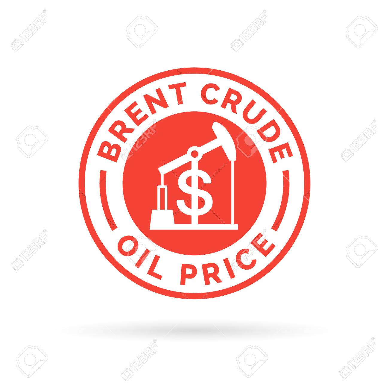 Price of brent crude oil icon stamp with red oil pump symbol