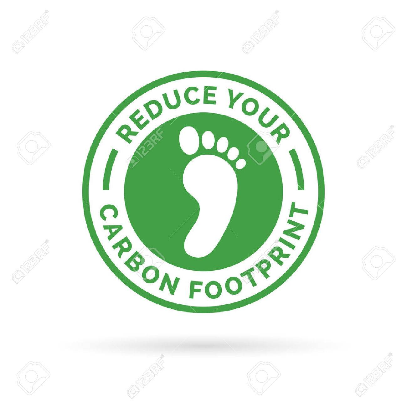 Reduce your carbon footprint icon symbol with green environment footprint badge. - 57067479