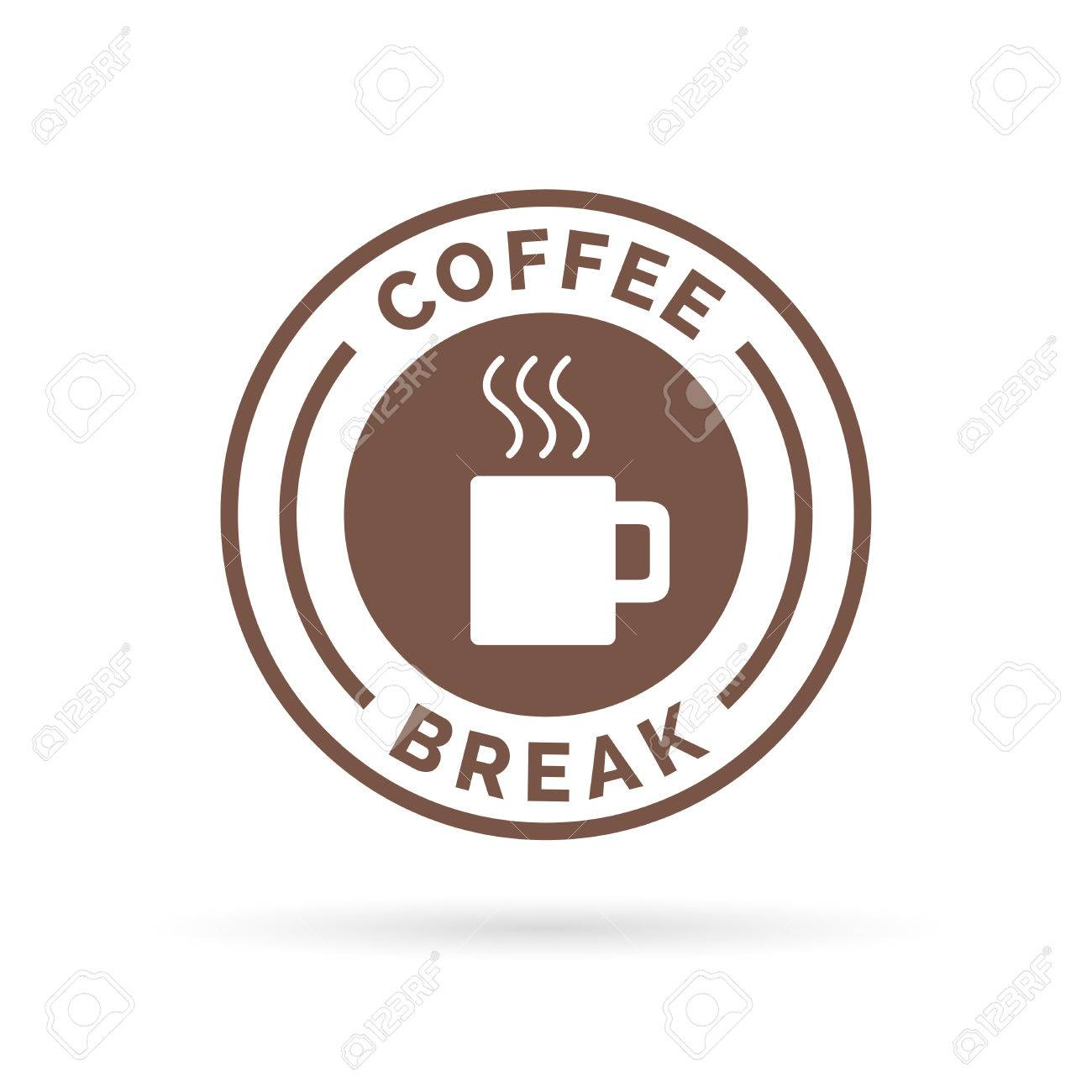 Coffee Break Time Badge Sign With Brown Steaming Mug Icon Silhouette Illustration Stock