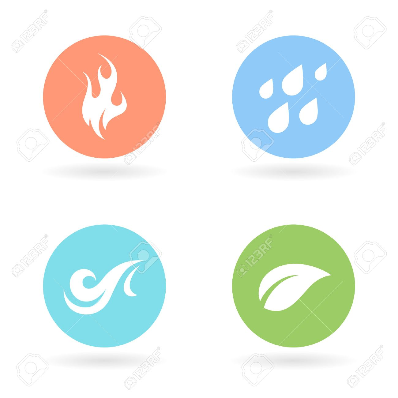 The Four Natural Elements Colour Circle Icons Earth Water Fire