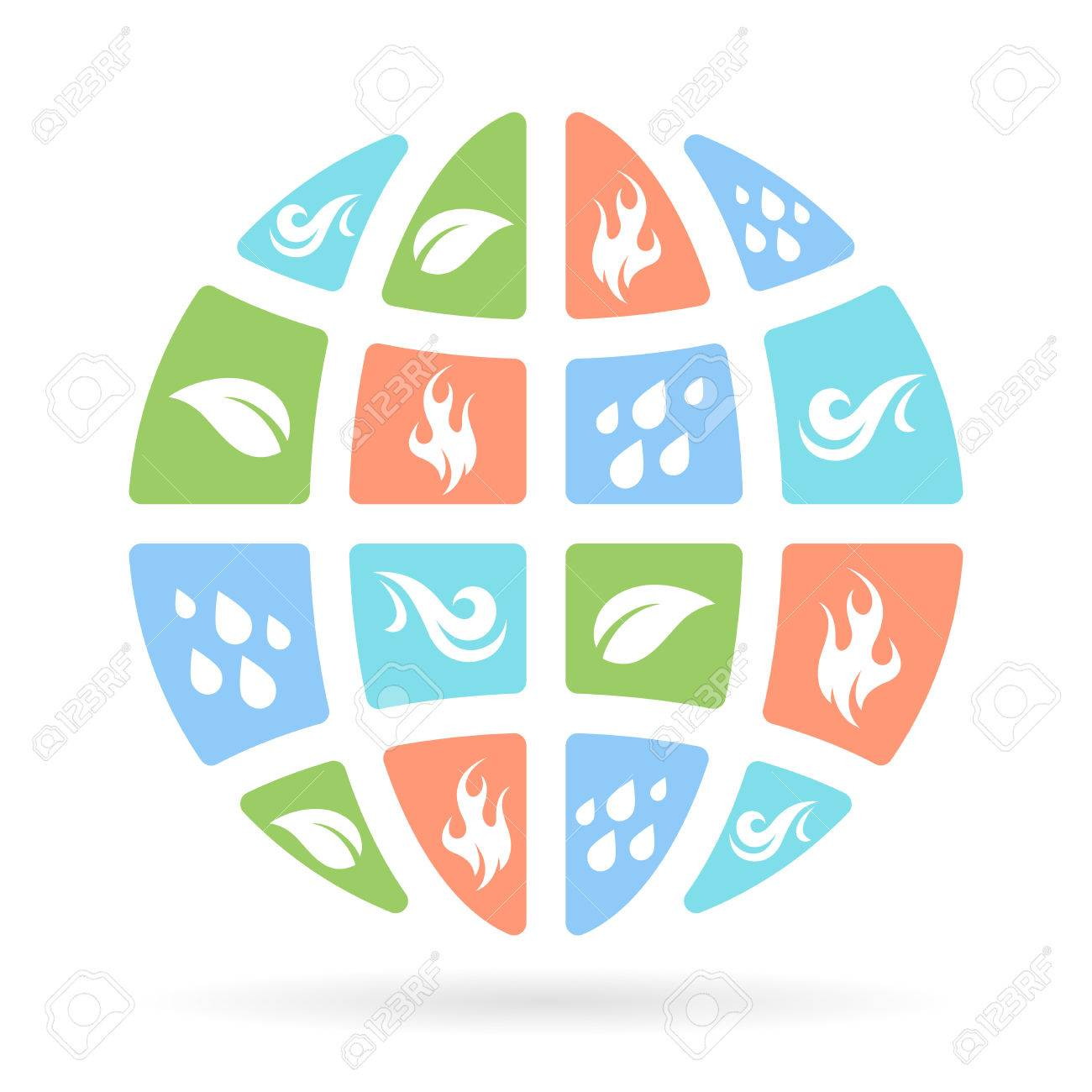 The four natural elements icons earth water fire and air the four natural elements icons earth water fire and air on concept planet biocorpaavc Choice Image