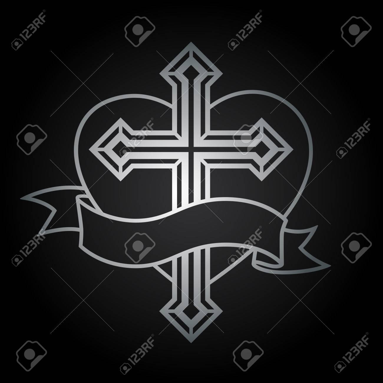 Plata Crucifijo Cruz Cristiana Religiosa Con Diseño Del Corazón Y El ...