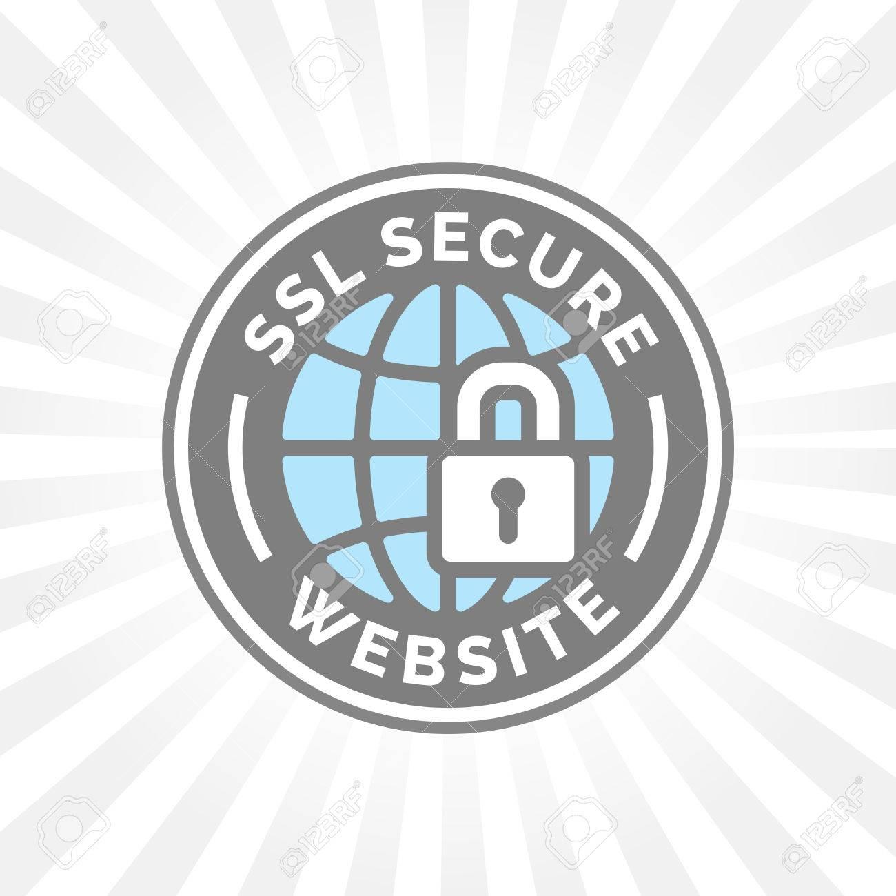 Secure website icon. Global internet web security sign. SSL symbol. Grey and blue globe with padlock emblem. - 65019703