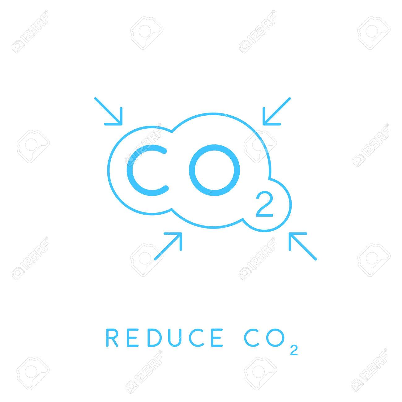 Reduce carbon co2 emissions concept icon with blue linear cloud reduce carbon co2 emissions concept icon with blue linear cloud with inward pointing arrows symbol buycottarizona Images