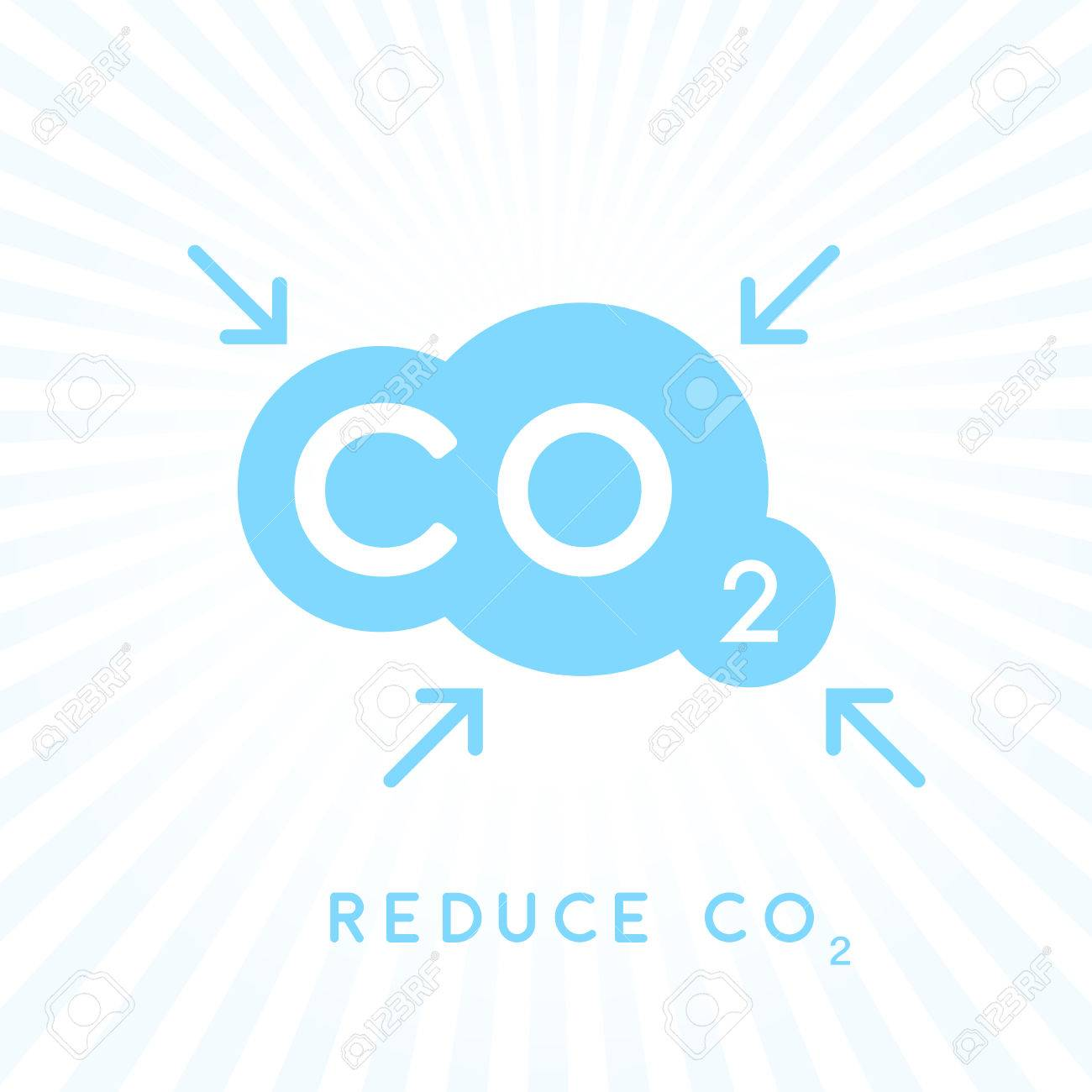Reduce Carbon Co2 Emissions Concept Icon With Blue Cloud With