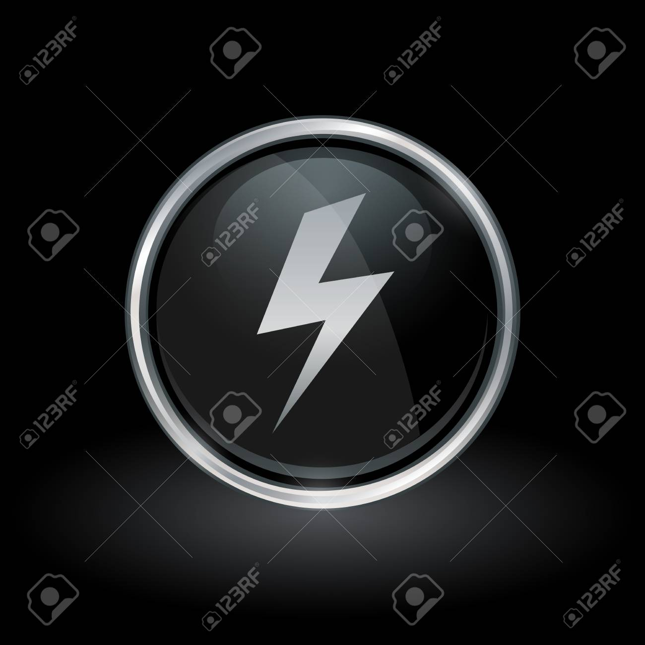 Electric Strike Symbol With Bolt Flash Icon Inside Round Chrome Royalty Free Cliparts Vectors And Stock Illustration Image 74062999