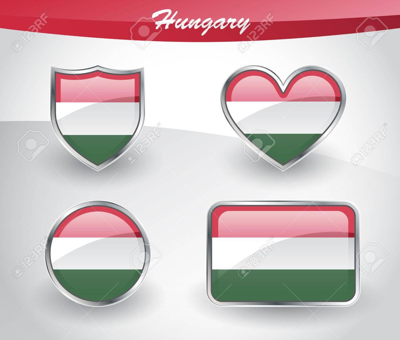 Glossy Hungary Flag Icon Set Mit Schild, Herz, Kreis Und Rechteck ...