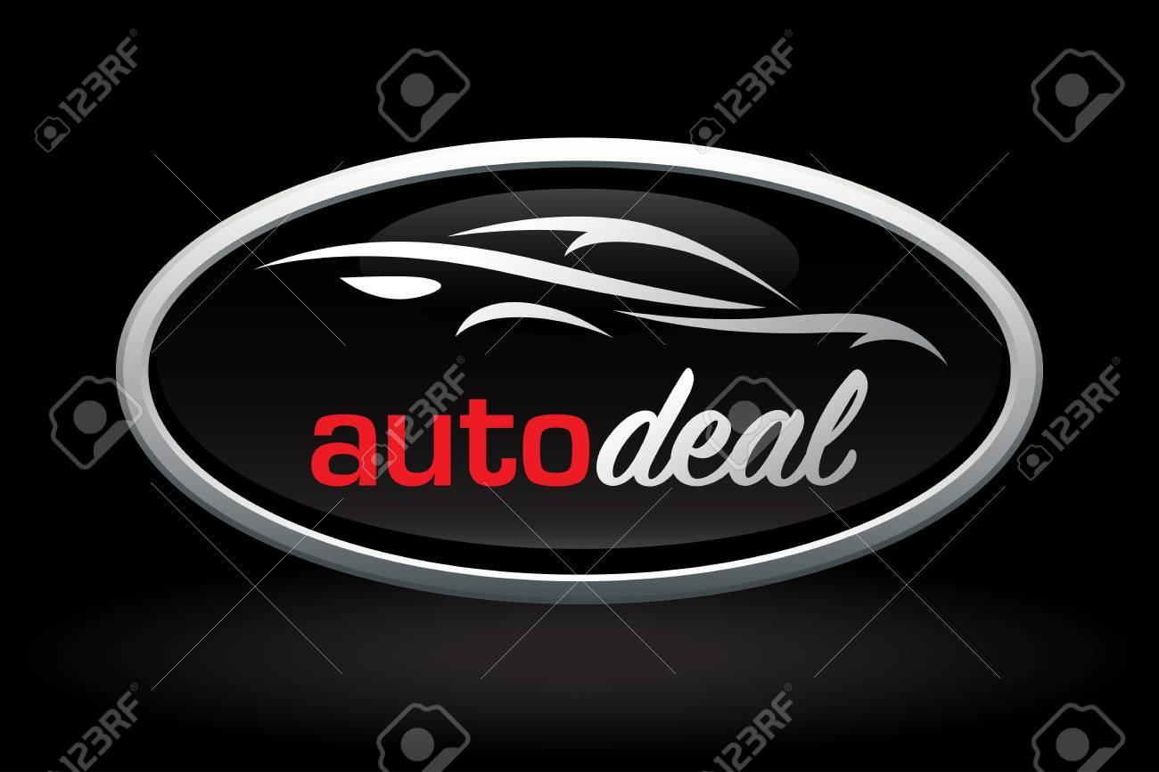 Automobile Dealer Concept Icon Design With Sports Car Vehicle