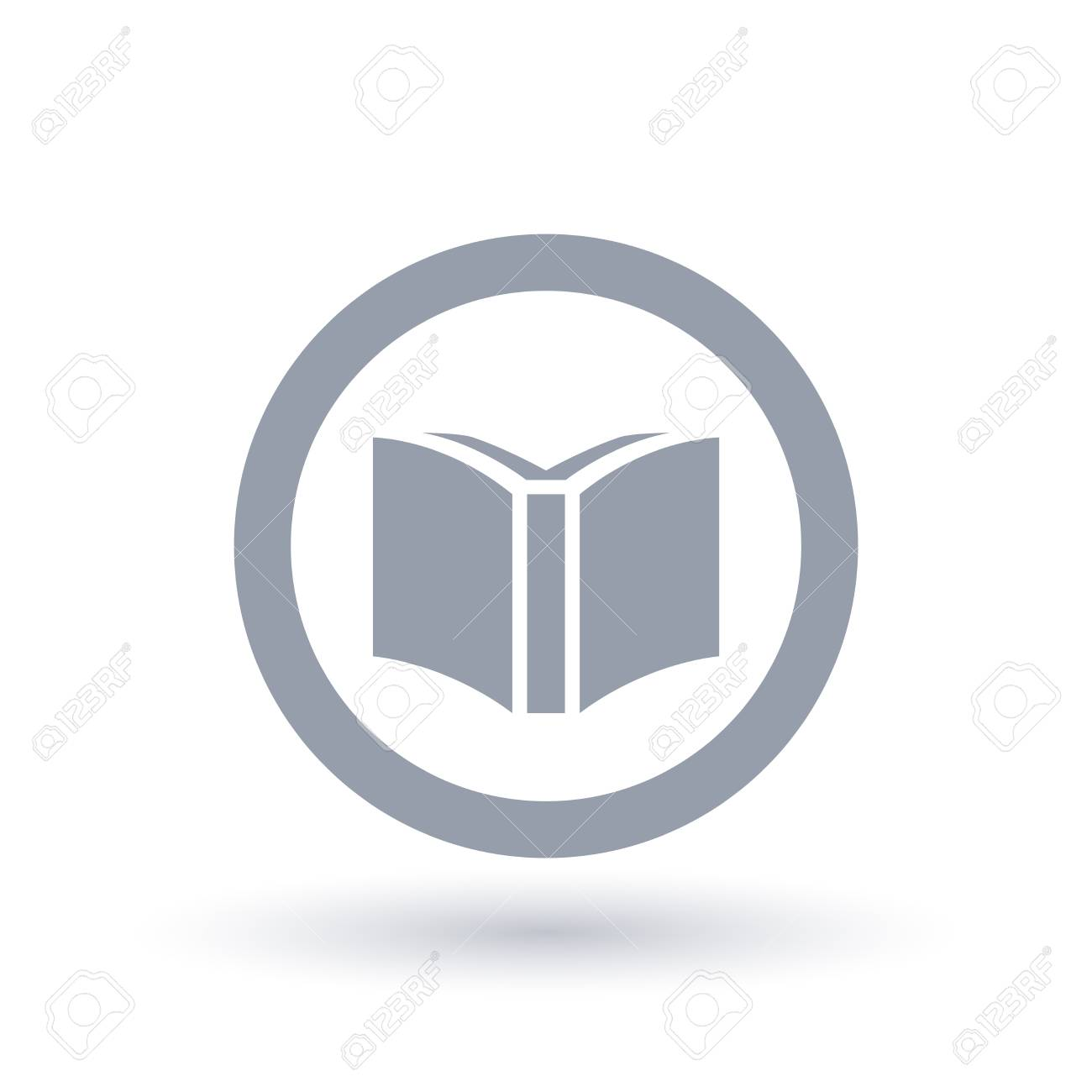 education icon open book in circle symbol library sign vector