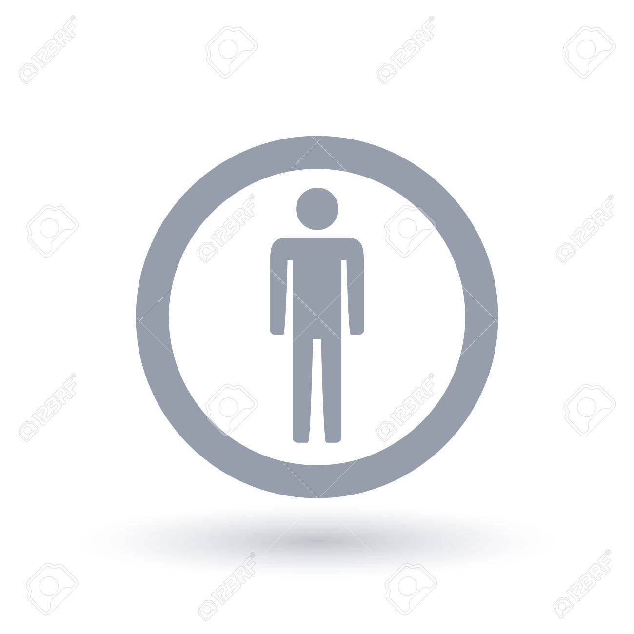 Man Icon In Circle Outline Male Gender Symbol Mens Sign Vector