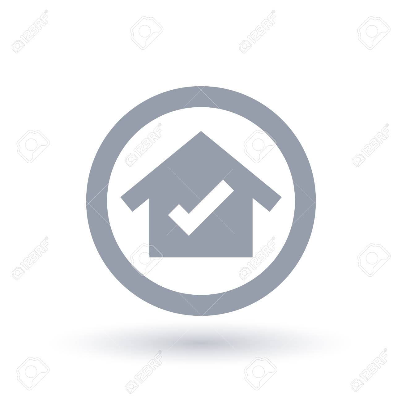 House tick icon, home check mark symbol  Real estate sign in