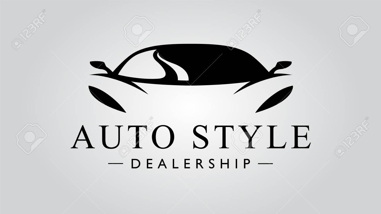 Auto style dealership super car icon with concept sports vehicle icon silhouette on light gray background. Vector illustration - 118845971