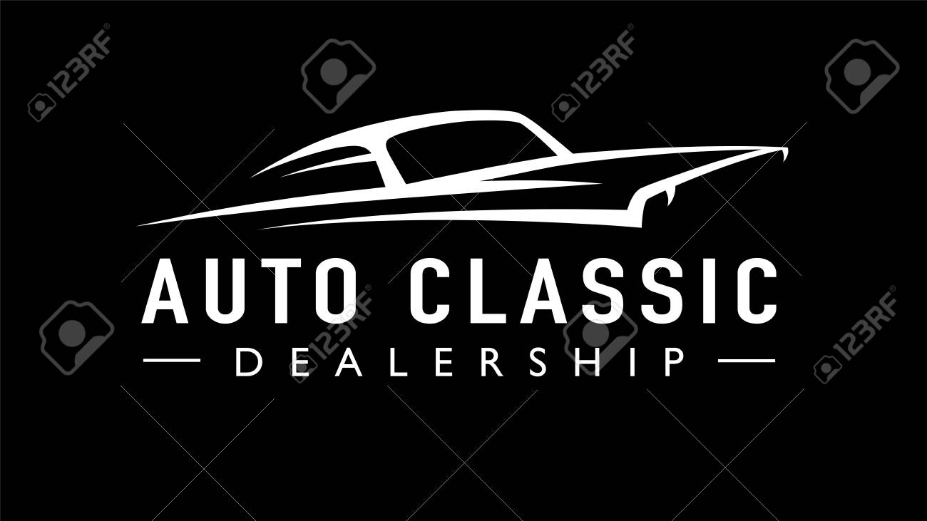 Classic American concept style sports muscle car dealership icon. Retro style V8 auto garage vehicle silhouette. Vector illustration. - 118845977
