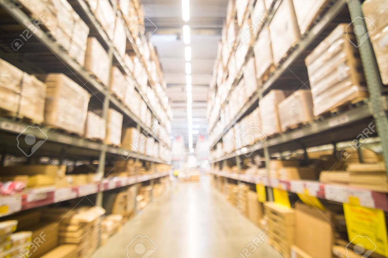 Blurred Warehouse Or Storehouse Shopping Home Decor In Department Store. As  Background Stock Photo