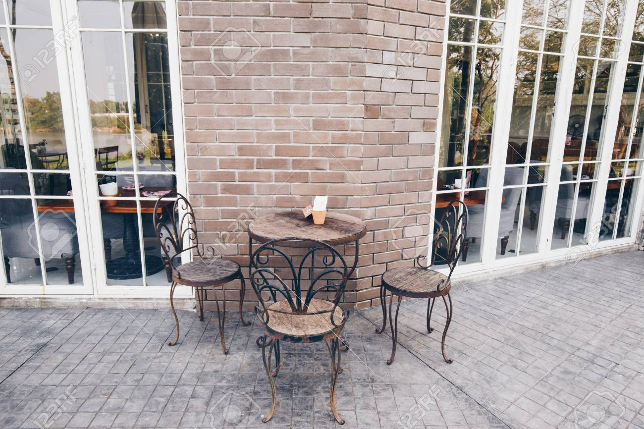 Wood Chair And Table Dinner In Vintage Restaurant Outdoor Stock Photo Picture And Royalty Free Image Image 95592530