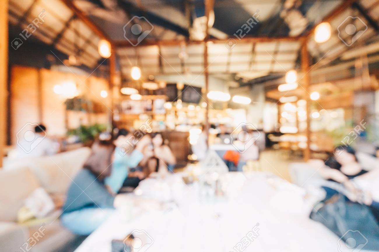 Blurred Modern Restaurant With Customer And Food Cafe Background Stock Photo Picture And Royalty Free Image Image 96488703
