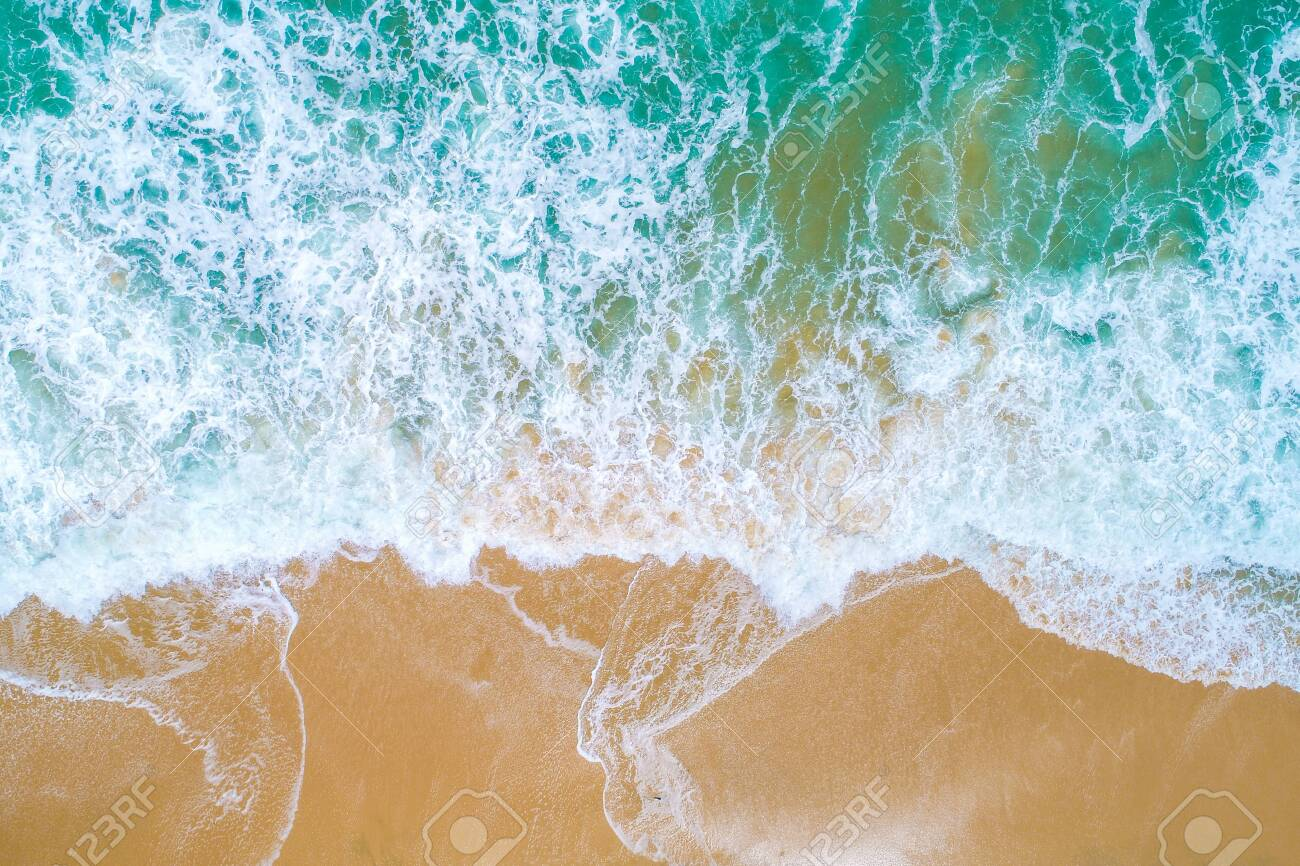 Sea wave on sand beach turquoise water nature landscape aerial view - 116371806
