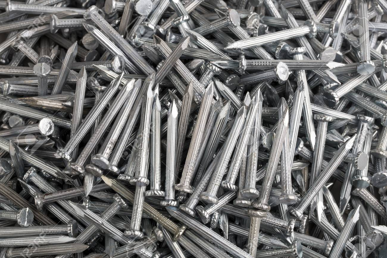 Heap of Silver Concrete nails