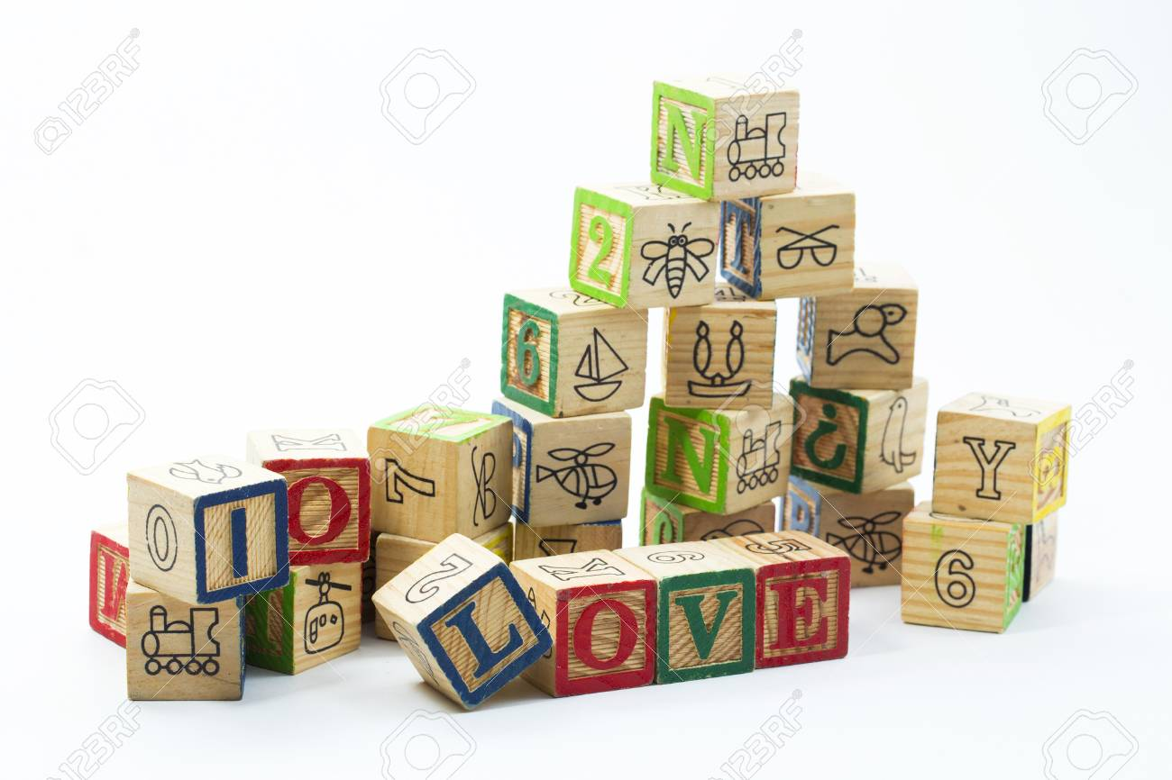 Wooden Toy Blocks Spelling I Love You Isolated On A White Background