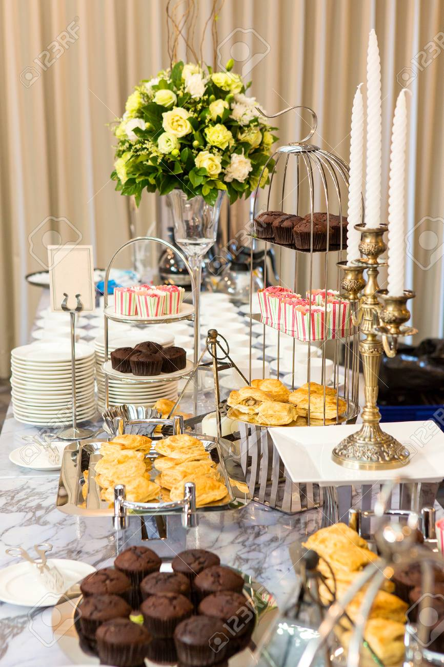 snacks on the coffee table in the party stock photo picture and
