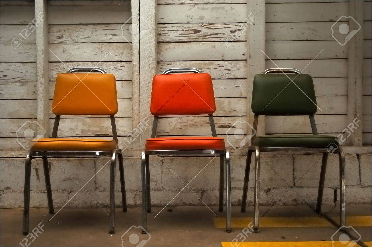 Stock Photo - Three Chairs in a Row : three chairs - lorbestier.org