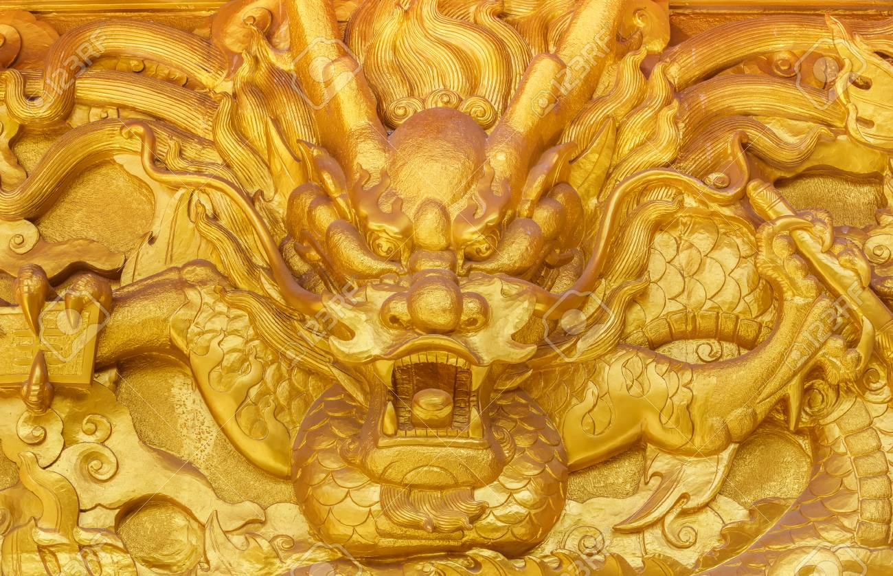 Chinese Golden Dragon Wall At A Public Shrine Stock Photo, Picture ...