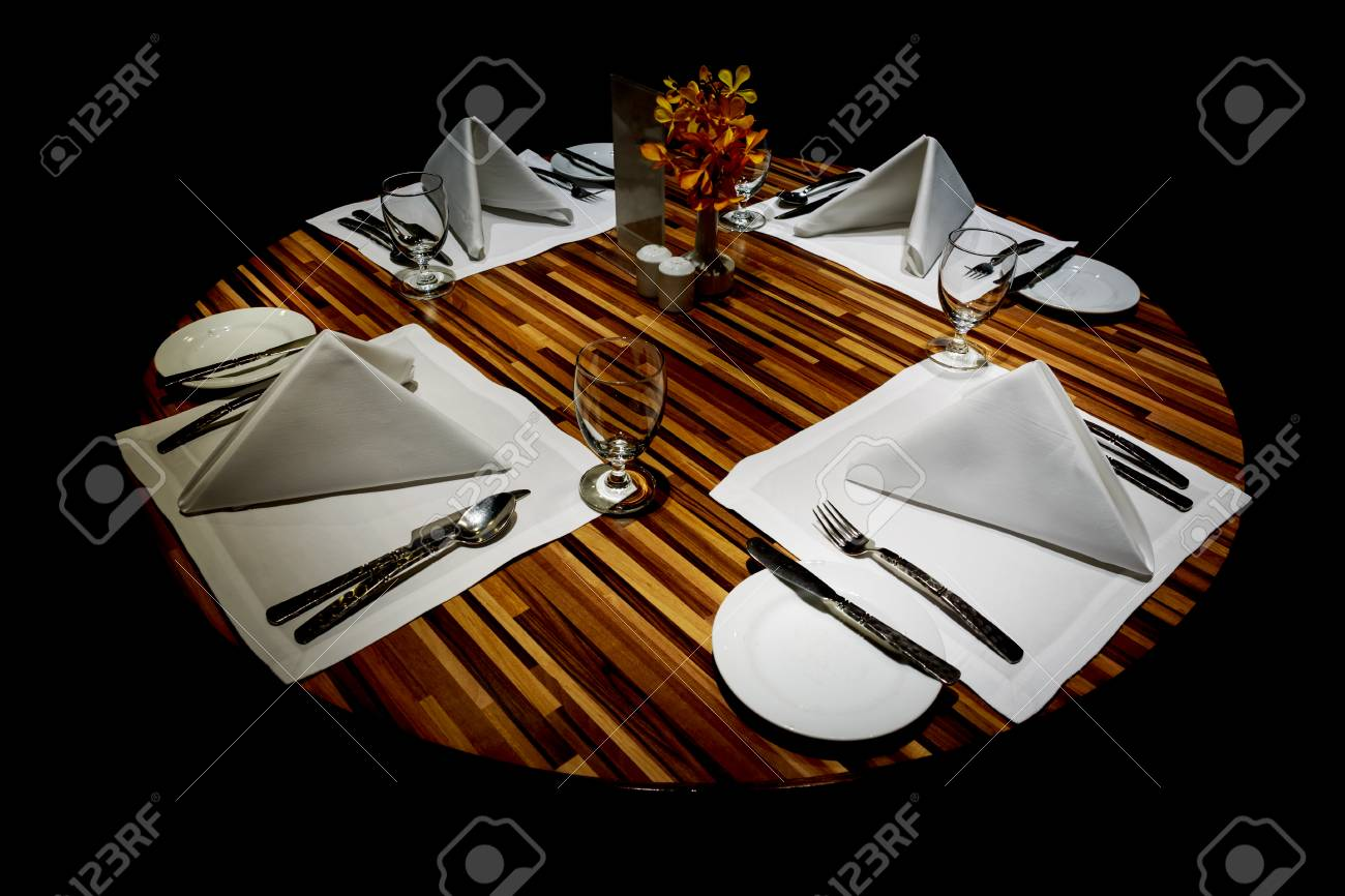 Served Table In Dark Restaurant Stock Photo Picture And Royalty Free Image Image 31635638