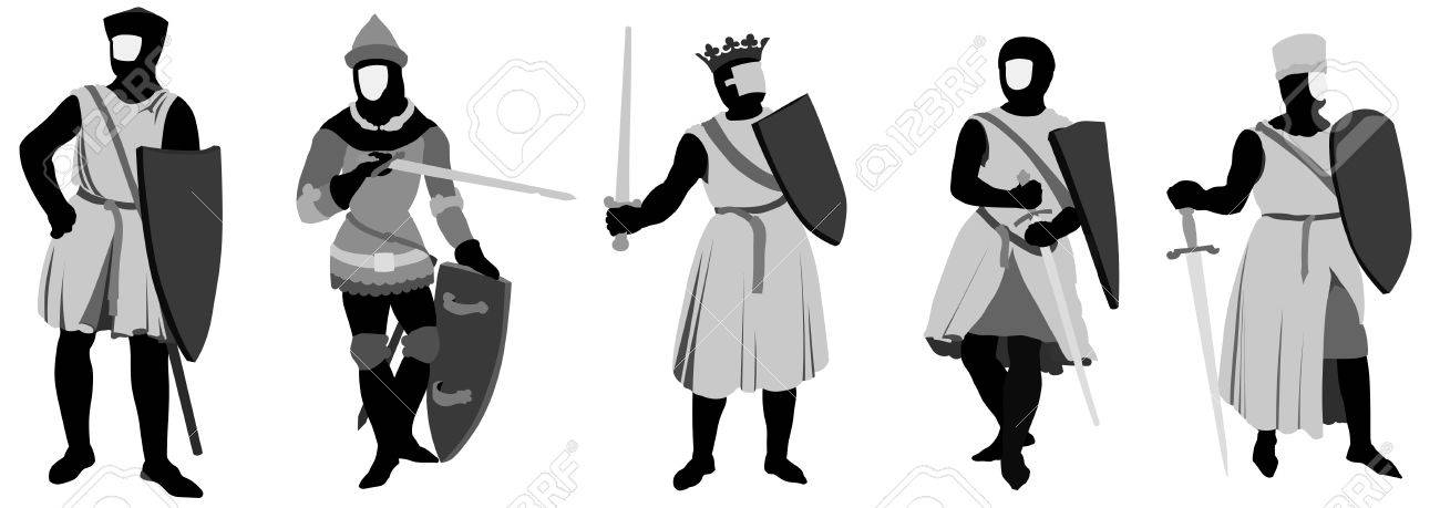 Set of 5 Knights illustration Stock Vector - 6563080