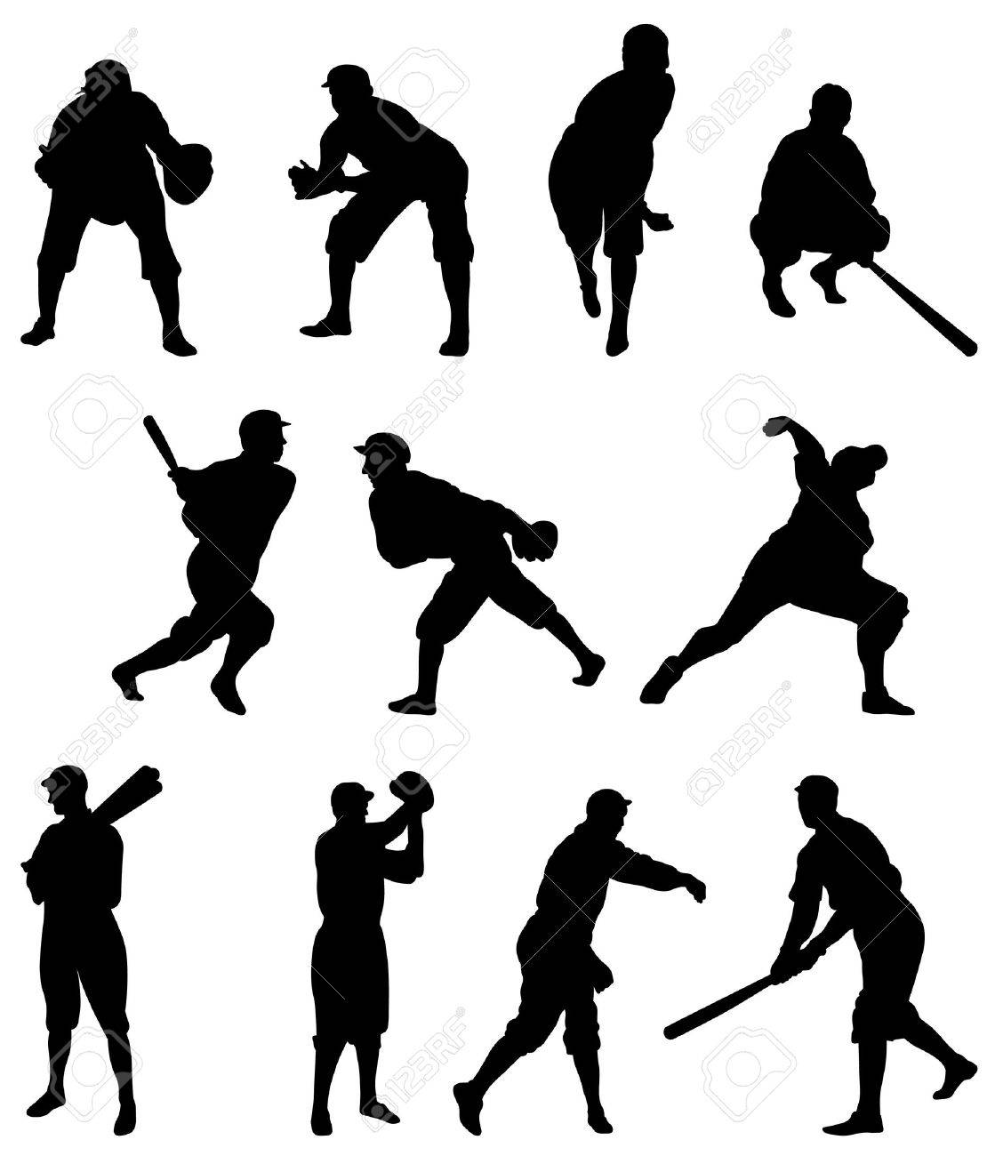 set one softball softball pitcher outline