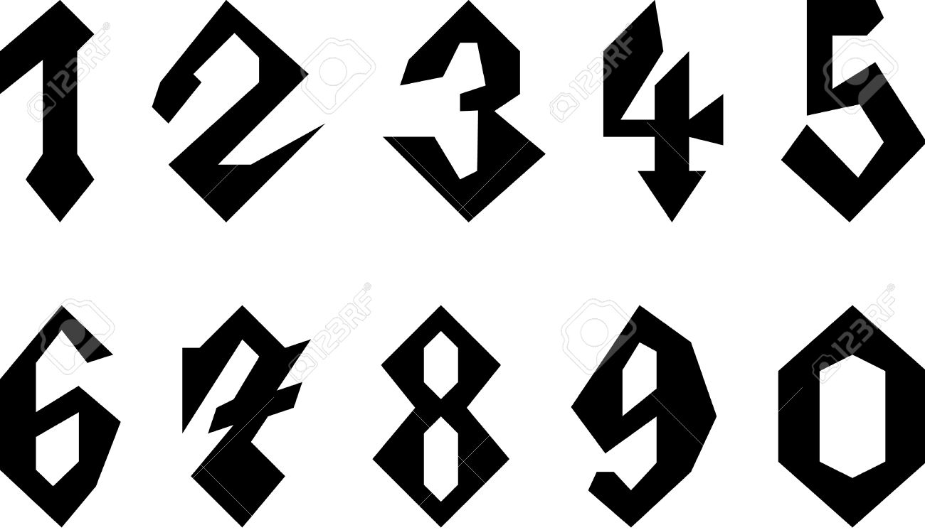 Set Of Gothic Style Numbers Stock Vector