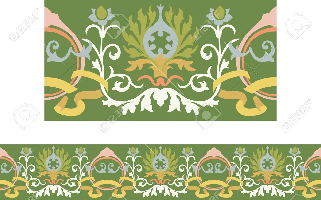 Victorian style repeating border with ribbon and floral elements Stock Vector - 7929754