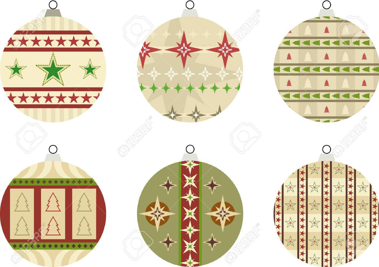 Set of 6 baubles Illustration with star and Christmas tree designs – also suitable for use as seasonal gift tags Stock Vector - 7929752