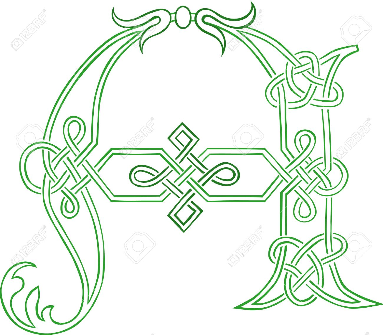 A Celtic Knot-work Capital Letter A Stylized Outline Royalty Free ...