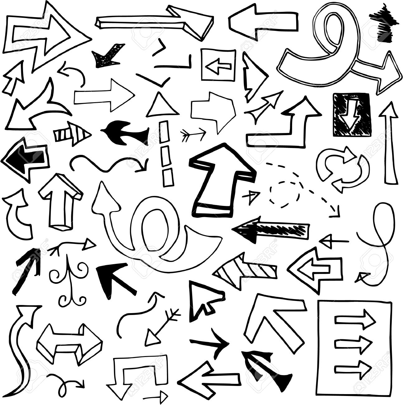 Set of 53 doodled arrows (Set Two). Stock Vector - 9301726