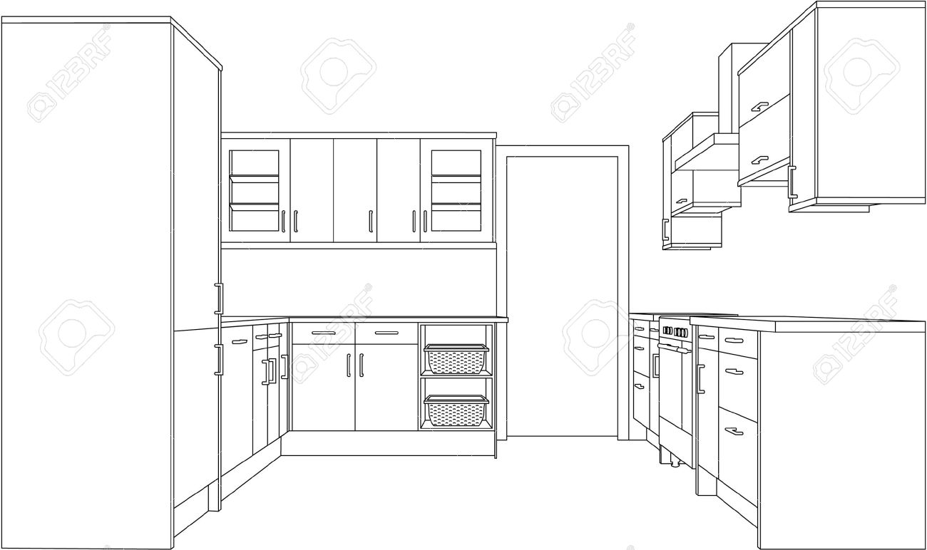 Kitchen perspective drawing - A 3d Single Point Perspective Line Drawing Of A Fitted Kitchen Version Stock Vector