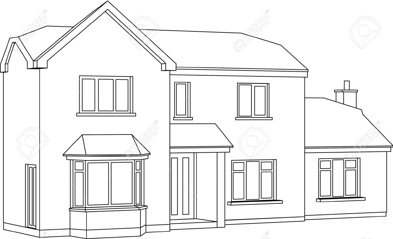 A 3d two point perspective line drawing of a two storey detached house stock vector
