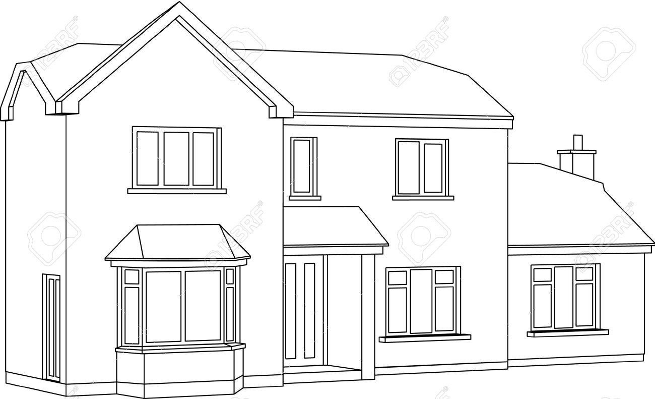 Un 3d Deux Dessin Au Trait Point De Vue D Un Deux étages Maison