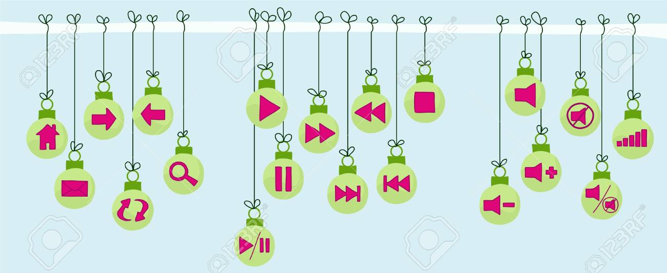 Multimedia and Website Navigation Christmas Bauble Buttons. Stock Vector - 10641101