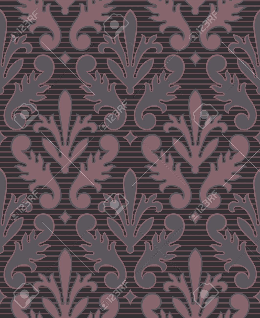 Dark Purple Seamless Victorian Style Wallpaper Background With Stripe Stock Vector