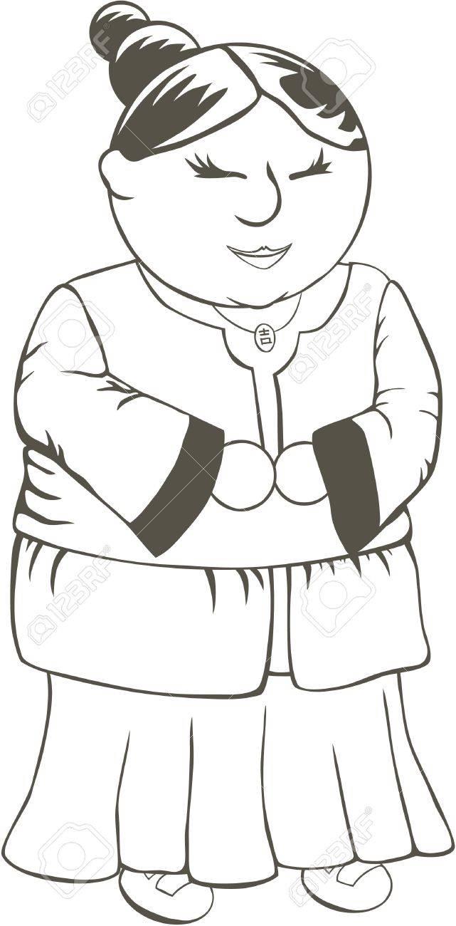La Abuela China Hoja De Pintar Para Los Niños Ilustraciones ...
