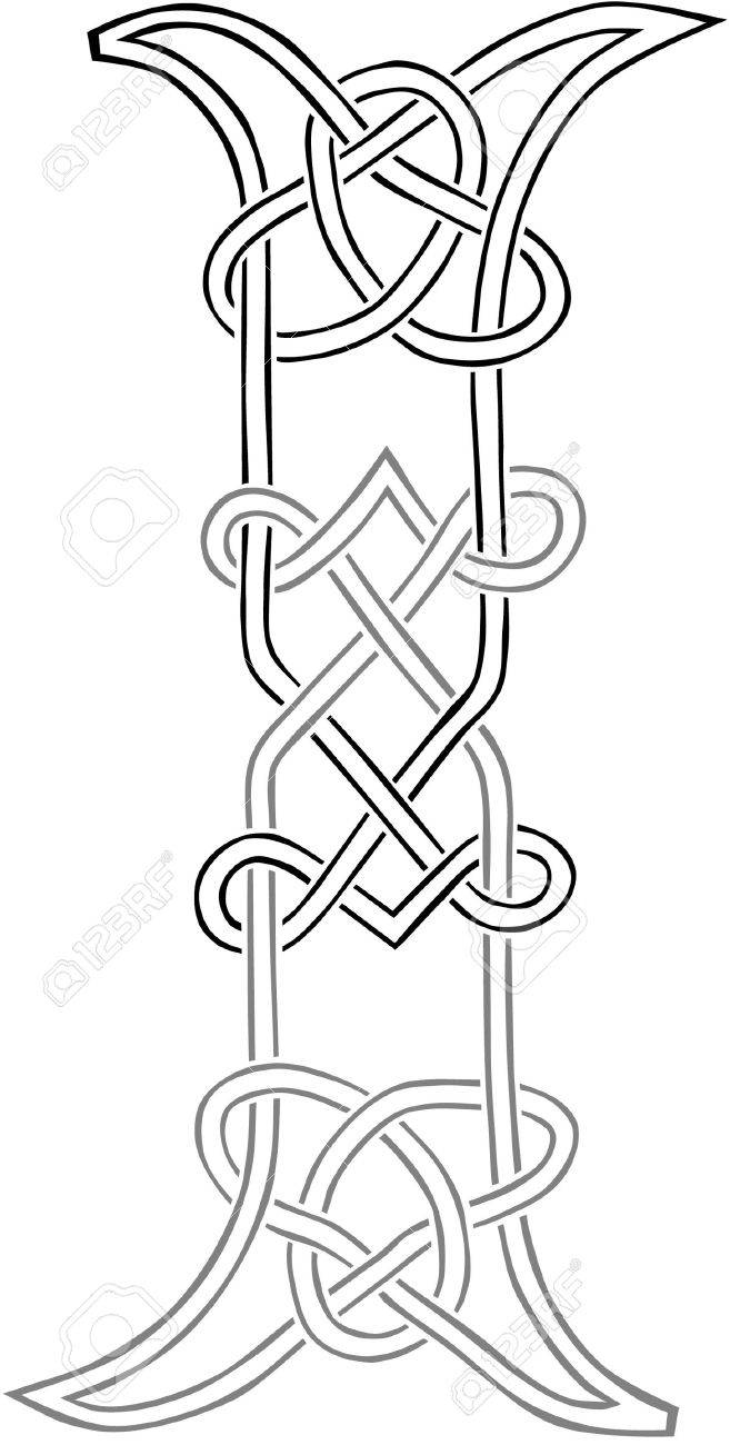 A Celtic Knot Work Capital Letter I Stylized Outline Stock Vector