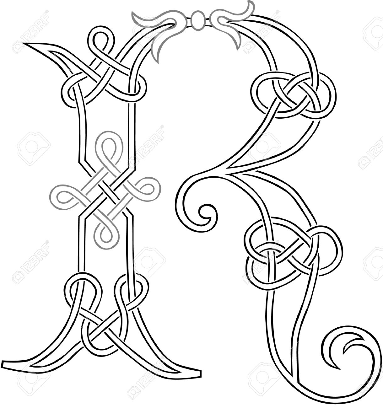 A Celtic Knot work Capital Letter R Stylized Outline Royalty Free