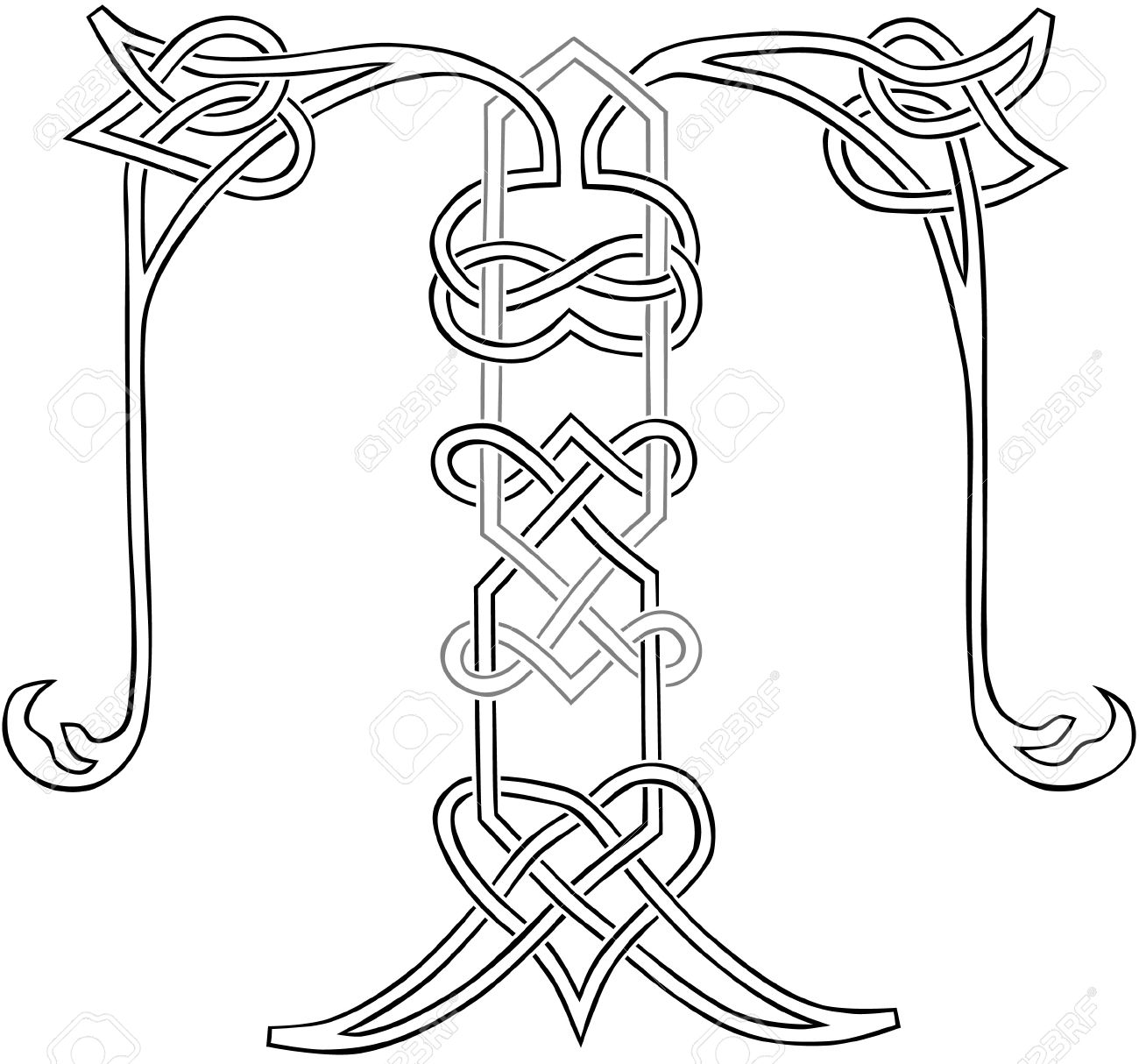 A Celtic Knot Work Capital Letter T Stylized Outline Stock Vector