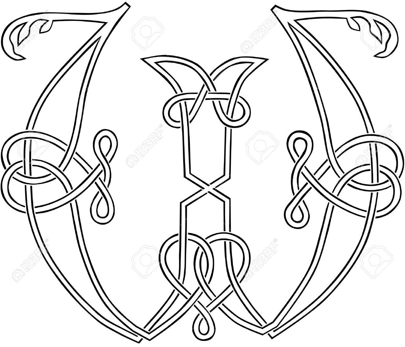 A Celtic Knot-work Capital Letter W Stylized Outline Royalty Free ...