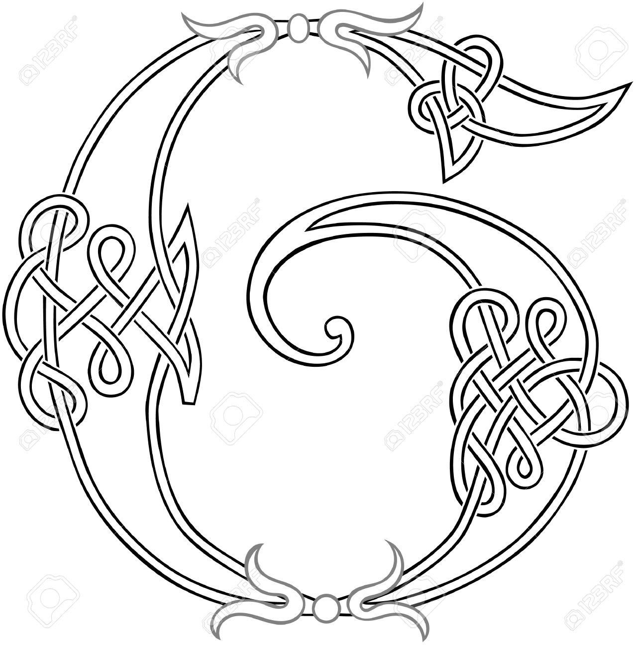 A Celtic Knot Work Capital Letter G Stylized Outline Royalty Free