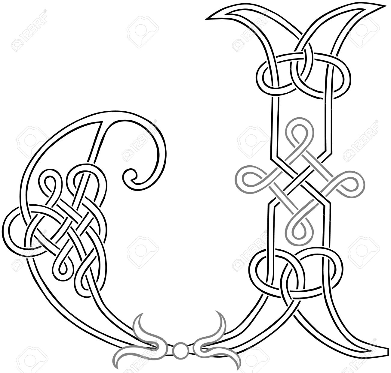 A Celtic Knot Work Capital Letter J Stylized Outline Royalty Free