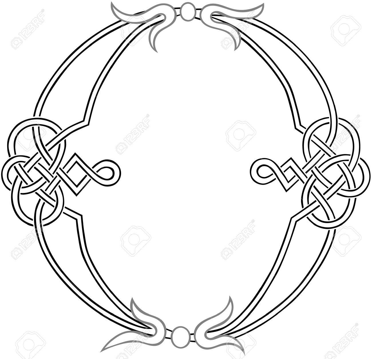 A Celtic Knot-work Capital Letter O Stylized Outline Royalty Free ...